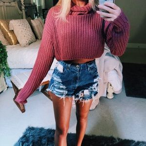 Sweaters - dusty mauve cropped turtleneck knit